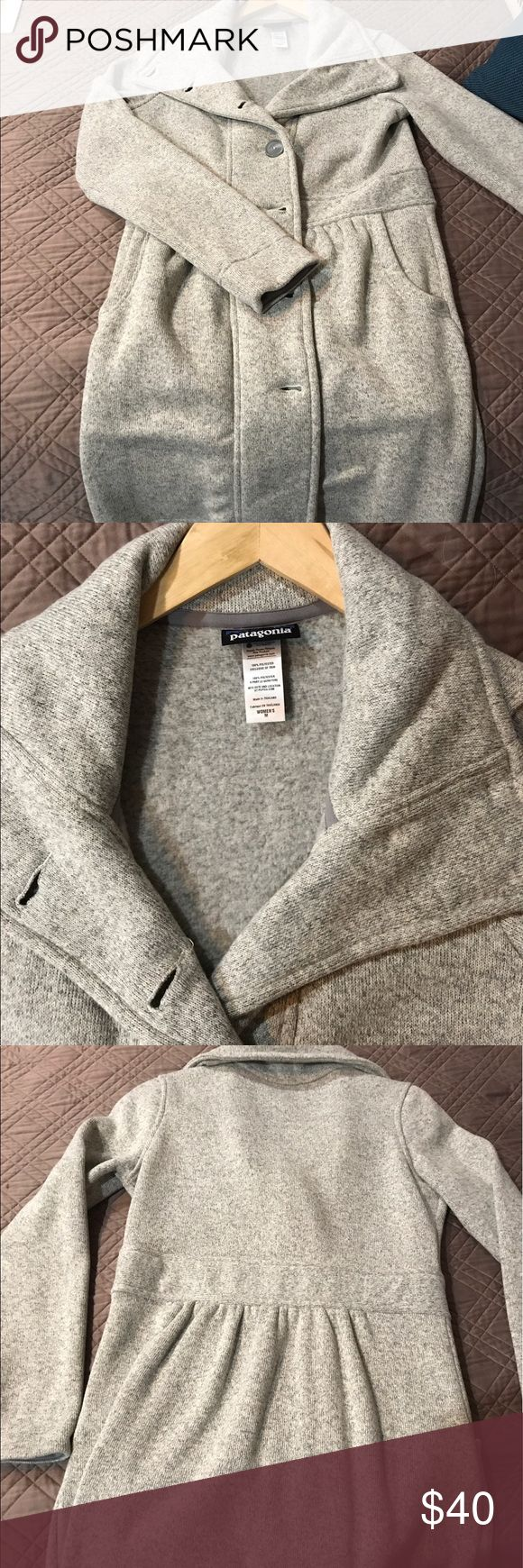 Patagonia Sweater Jacket Soft, heather gray, long Patagonia jacket. This sweater jacket is awesome with leggings and perfect for heading to yoga class! Patagonia Jackets & Coats