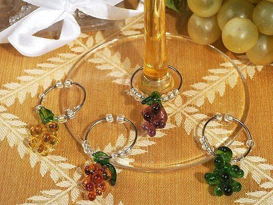 Murano Art Deco Collection Grapes Design Wine Charms