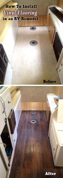 RV Remodel, Before and after photo how-to for installing a vinyl floor in your travel trailer camper makeover.