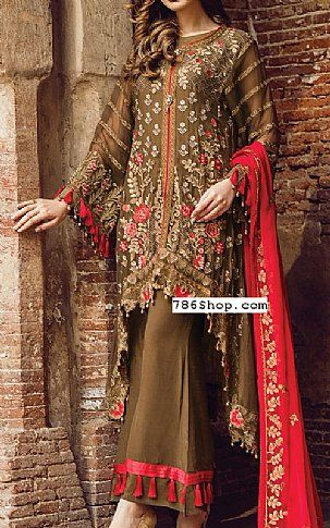 Olive Chiffon Suit | Buy Flossie Pakistani Dresses and Clothing online in USA, UK