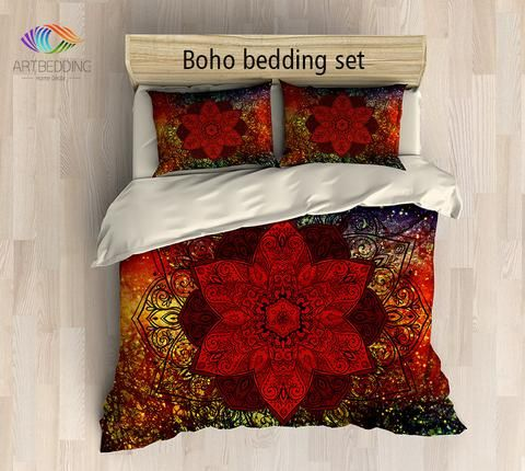 Bohemian bedding, Mandala duvet cover set, Galaxy mandala bedding, Boho chic bedroom interior                                                                                                                                                     More