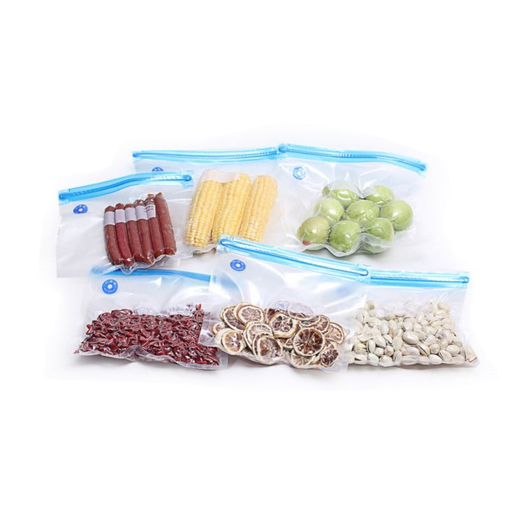 Preup 5-Pcs Plastic, Recycling use Vacuum Zip Bags [ for all Sealer Vacuum Packing Machine / Handheld Vacuum Sealing System]- for Fish / Vegetables / Fruit Saving, Easy to take for traveling, Clear