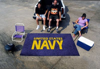 US Navy Emblem Tailgating Party Supplies Rug 5' X 8' Tailgate Gear USA Made