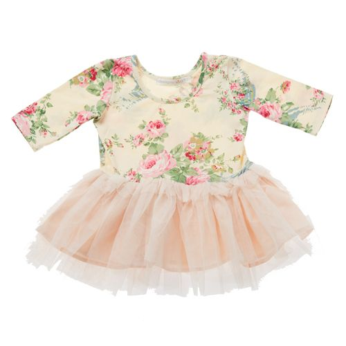 Divine little baby girls floral tuelle dress in beige by Designer Kidz!  Your baby girl is guaranteed to stand out in her play group in this quirky baby dress!  Features floral print stretchy bodice and tulle skirt - comfortable and oh so stylish!  Little Boo-Teek - Baby Clothes Online | Baby Girls Clothing | Baby Girls Tutu