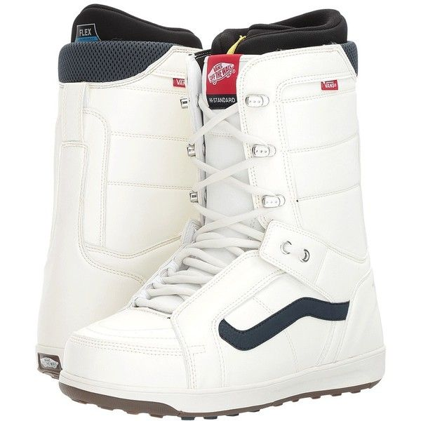 Vans Hi-Standard (Retro White) Men's Snow Shoes (£140) ❤ liked on Polyvore featuring men's fashion, men's shoes, mens fur lined shoes, mens white shoes, mens leopard print shoes, mens retro shoes and vans mens shoes
