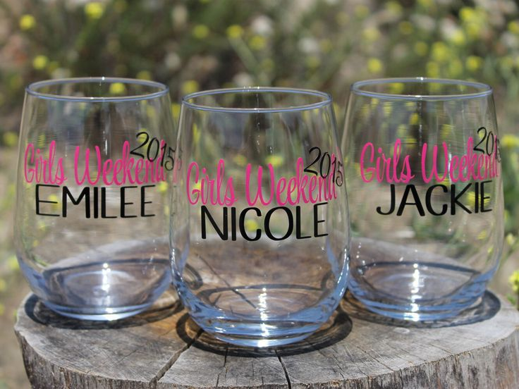 Girls Weekend Set of 5 Personalized Stemless Wine Glasses - Girls Getaway - Bachelorette Party Glasses by TheGlassHeartCo on Etsy https://www.etsy.com/listing/238271463/girls-weekend-set-of-5-personalized