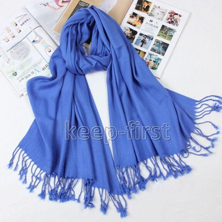 Blue Fashion Women's Long Soft Pashmina Shawl Wrap Stole Cashmere Scarf