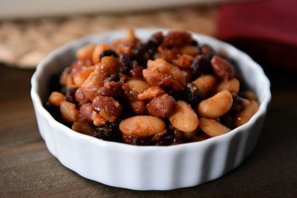 Get this simple recipe for famous baked beans- Add ground beef -  A medley of tender beans bakes in an easy, made-from-scratch BBQ sauce; best beans ever!