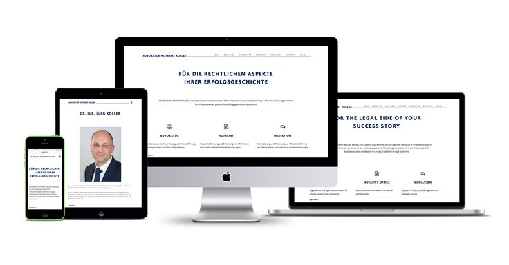 Responsive Web Design for an advocacy / notary office in Switzerland. Clean, reduced, no unnecessary animations