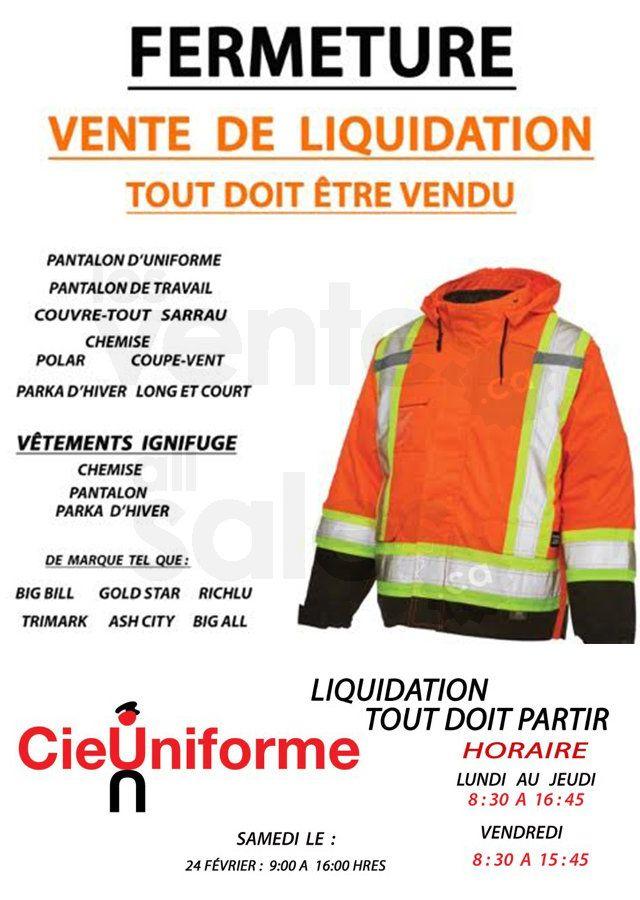 Liquidation de vêtements de travail | lesventes.ca