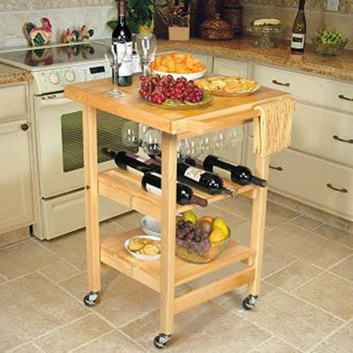Foldable Kitchen Island Cart W/ Butcher Block Countertop Natural Wood Finish
