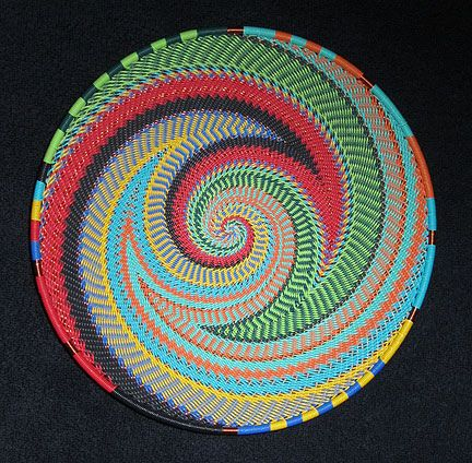 Gorgeous! Handmade Zulu Telephone Wire Basket | From South Africa