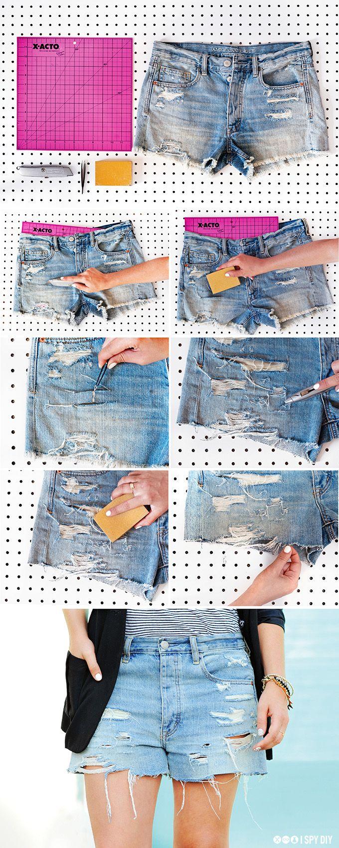 DIY STEPS | Shredded Distressed Denim #ispydiy