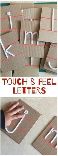 Atividade sensitiva para exercitar o conhecimento das letras. Atividade que pode ser feita com uma venda nos olhos.