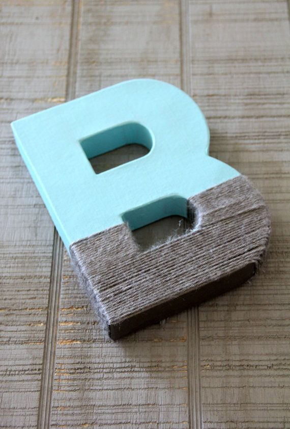 Grey Yarn Dipped Letters, Paper Mache Letters, Boy Nursery Decor, grey nursery, boy Baby Shower, blue and grey nursery decor on Etsy, $12.00