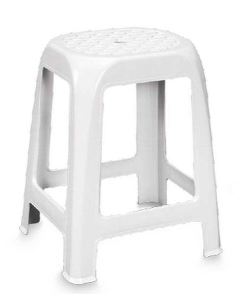 Sgabello in plastica Elfo. Sgabello basso bianco adatto a vari usi domestici. Dimensioni 41l x 35p x 46h cm