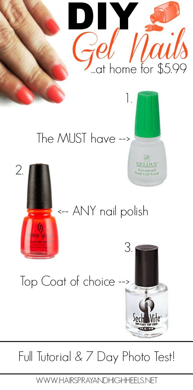 DIY Gel Nails. She does Gel coat, Color coat, Gel coat, Color coat, Top coat, Gel coat. Use thin coats and let dry about a min before putting on next coat. Take off with 100% acetone polish remover.