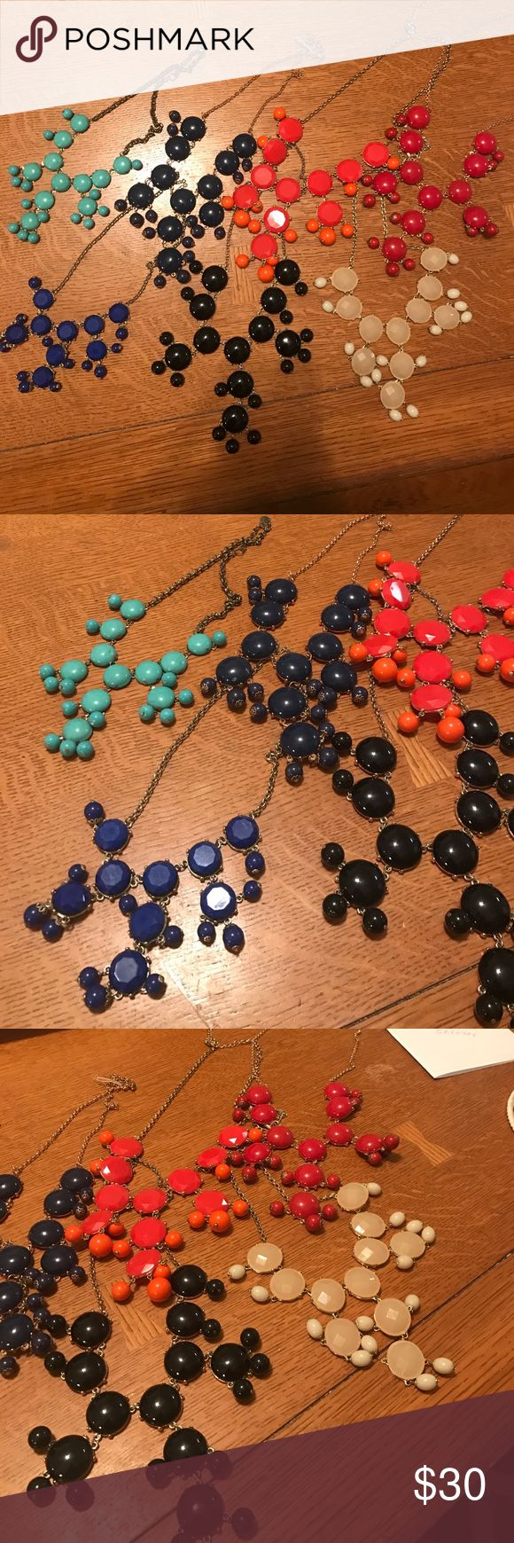 Bubble necklace bundle Have you ever wanted a bubble necklace in every color!? Well here's your chance! There's red, coral, black, navy blue, turquoise, royal blue, and a cream/white! All in beautiful condition! Charming Charlie Jewelry Necklaces