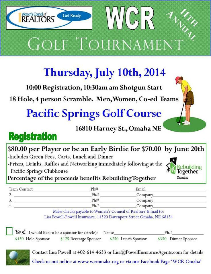 It's a great day to register to participate in the 11th Annual WCR Golf Tournament on Thursday, July 10, 2014. I hope to see you there!  http://www.wcromaha.com/