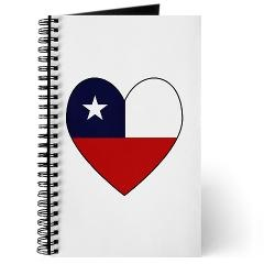 Chilean Flag Heart Journal. Keep your thoughts, dreams and goals in a lovely journal with a heart shaped Flag of Chile on the front. Perfect way to love and honor your ancestry, heritage and culture.