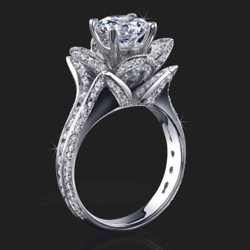 215ct white diamond flower lotus design engagement ring in solid 925 silver - Lotus Wedding Ring
