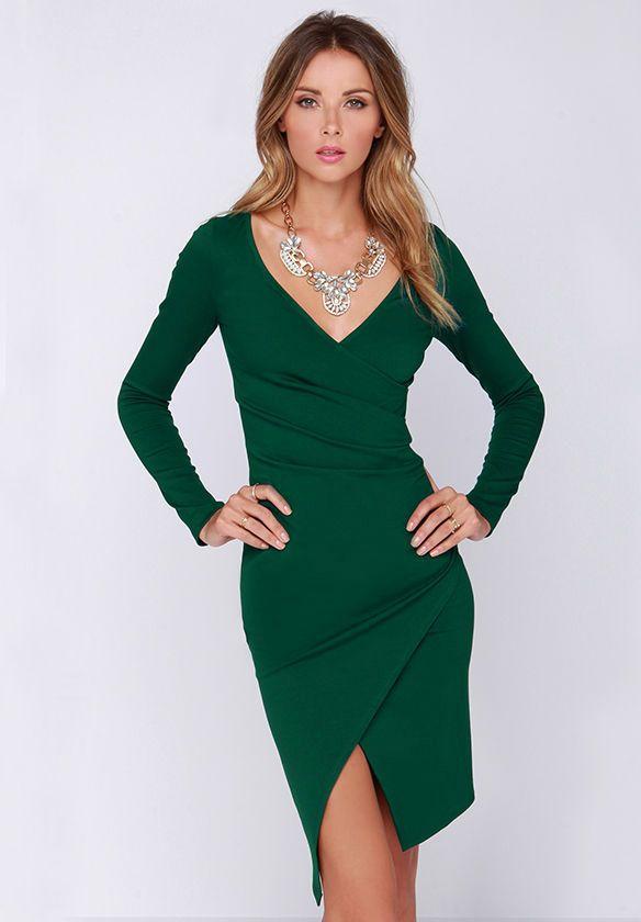 Green Long Sleeve V Neck Split Dress 18.99