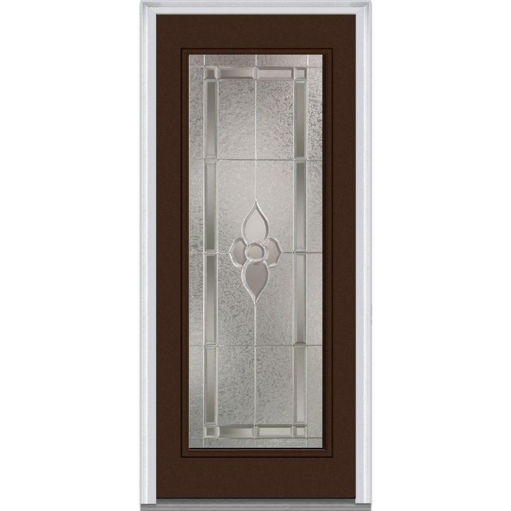 Milliken Millwork 33.5 in. x 81.75 in. Master Nouveau Decorative Glass Full Lite Painted Majestic Steel Exterior Door, Polished Mahogany
