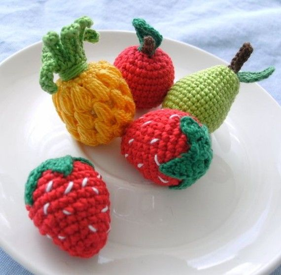 Crochet Amigurumi Fruits Strawberry Apple Pear by MariaKonstantin