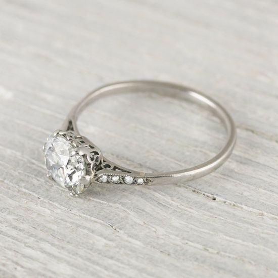 1 Carat Cushion Cut Vintage Engagement Ring | Erstwhile- really love this one @ Wedding-Day-BlissWedding-Day-Bliss