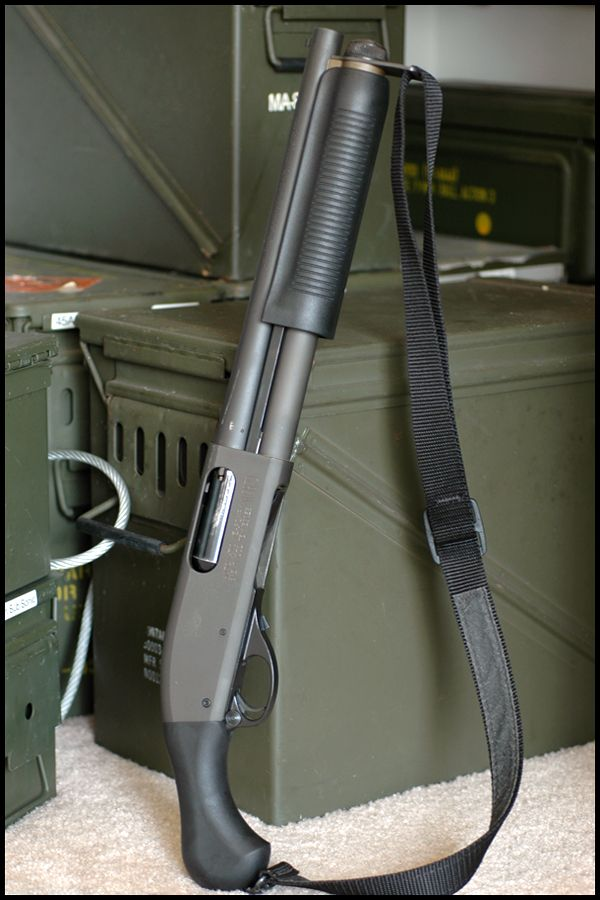 """A synthetic Remington 870 that appears to have a 12"""" barrell and aftermarket birdshead pistol grip. Appers to be from the express line.Excellent for home defense but without a $200 stamp the NFA classifies this weapon illegal for length."""