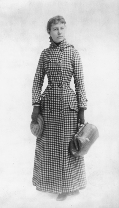 Nellie Bly (May 5, 1864 –1922) was the pen name of pioneer woman journalist, independent world traveller and inventor, Elizabeth Jane Cochran. http://en.wikipedia.org/wiki/Nellie_Bly