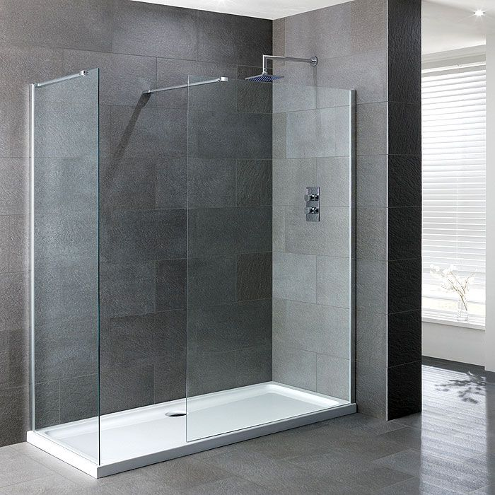 1400x900mm walk in shower enclosure pack with return corner 8mm glass with 40mm low
