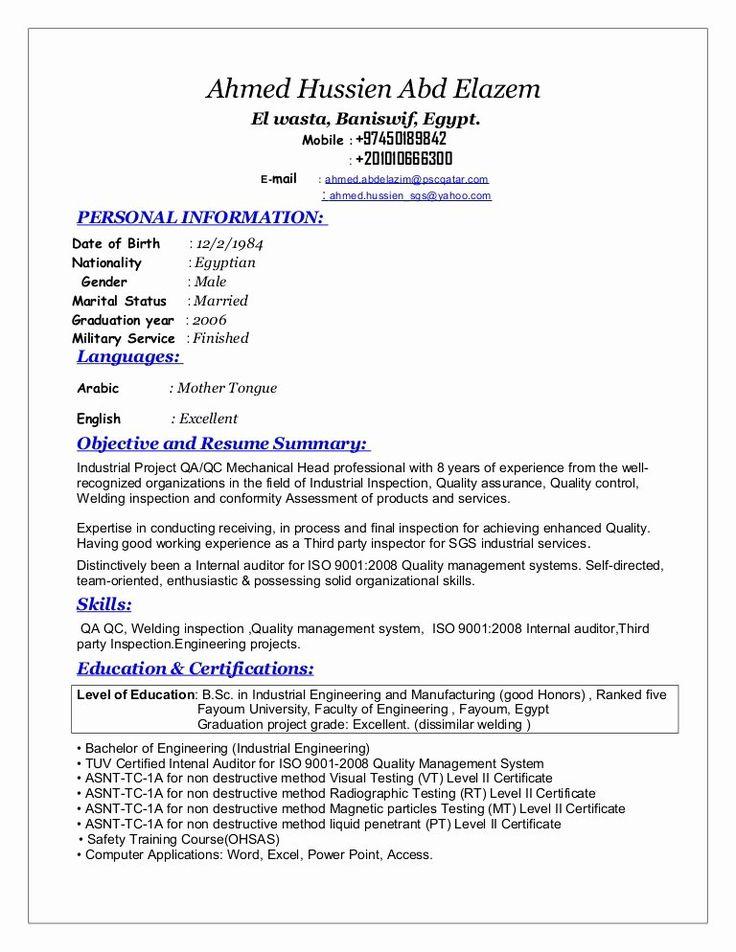 Engineer In Training Resume Lovely Sr Qa Qc Mechanical