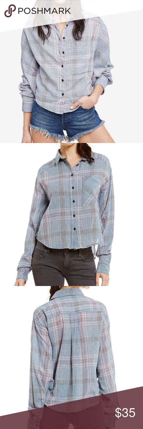 Cotton Cropped Cutie Plaid Button Down Batwing Top Free People's tomboy-inspired shirt gets a chic upgrade with this cool essential. The relaxed boyfriend styling of this plaid piece is slightly cropped so it rests at the high hip with feminine flair.          Designed for a relaxed fit         Point collar, long sleeves, button cuffs         Front button down closure, patch pocket at left chest         Cropped, rounded hem, crinkle texture, plaid pattern         Cotton; trim…