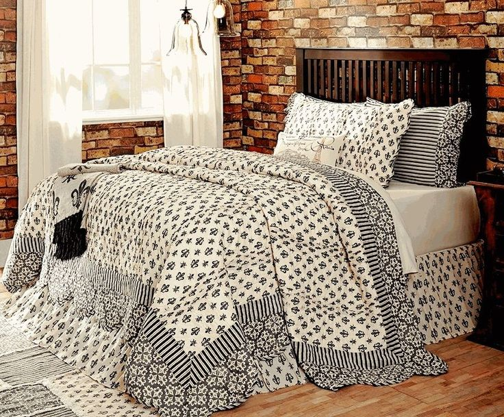 FRENCH PARISIAN Cal King QUILT SET: COTTAGE BLACK CREAM FLEUR PARIS ELYSEE CHIC #VhcBrands #FrenchCountry