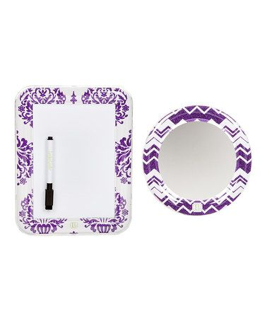 Loving this Purple Locker Mirror & Whiteboard Set by LockerLookz, $10 !! #zulily #zulilyfinds