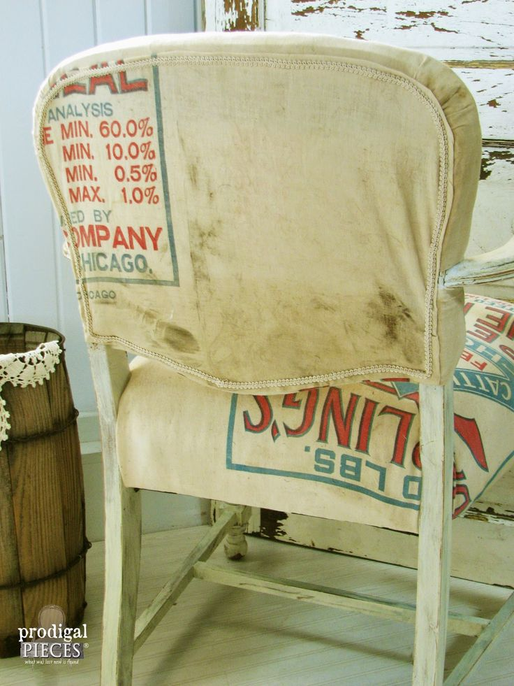 Vintage Feed Sack Chair {Themed Makeover Day} by Prodigal Pieces www.prodigalpieces.com