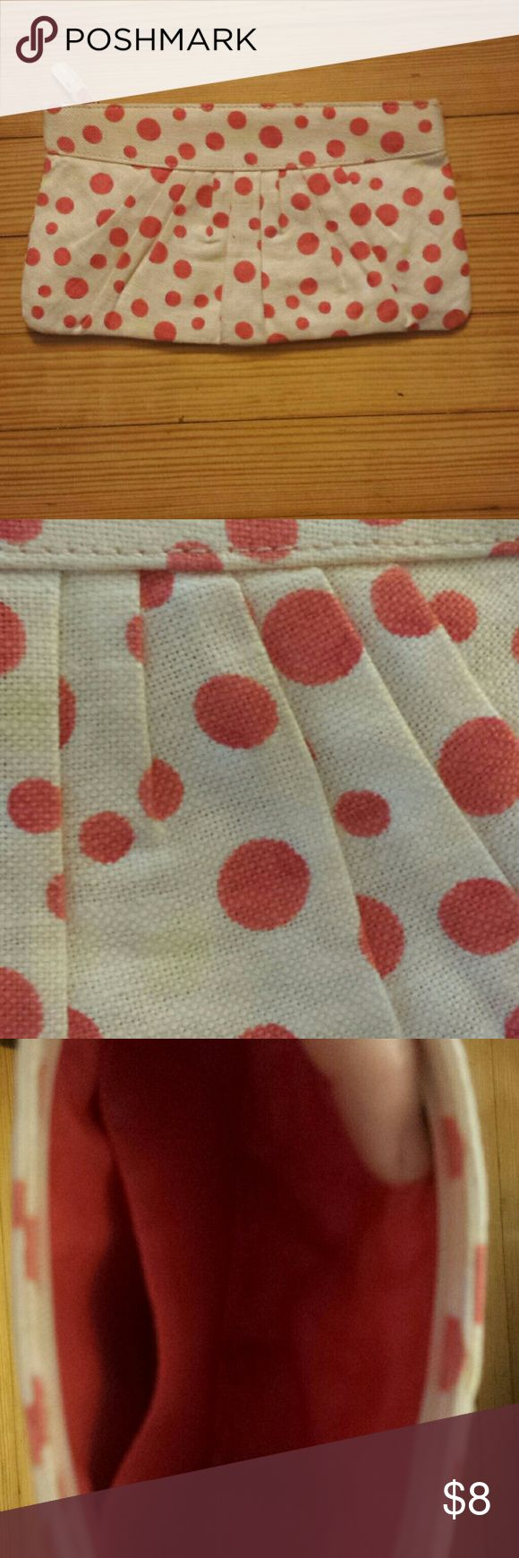 Polka dot clutch Cream base with melon and yellow polka dots..great summer bag. Never used. Perfect condition Old Navy Bags Clutches & Wristlets
