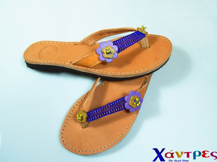 Handmade greek leather flip flops decorated by us.  We shell individual or wholesale.
