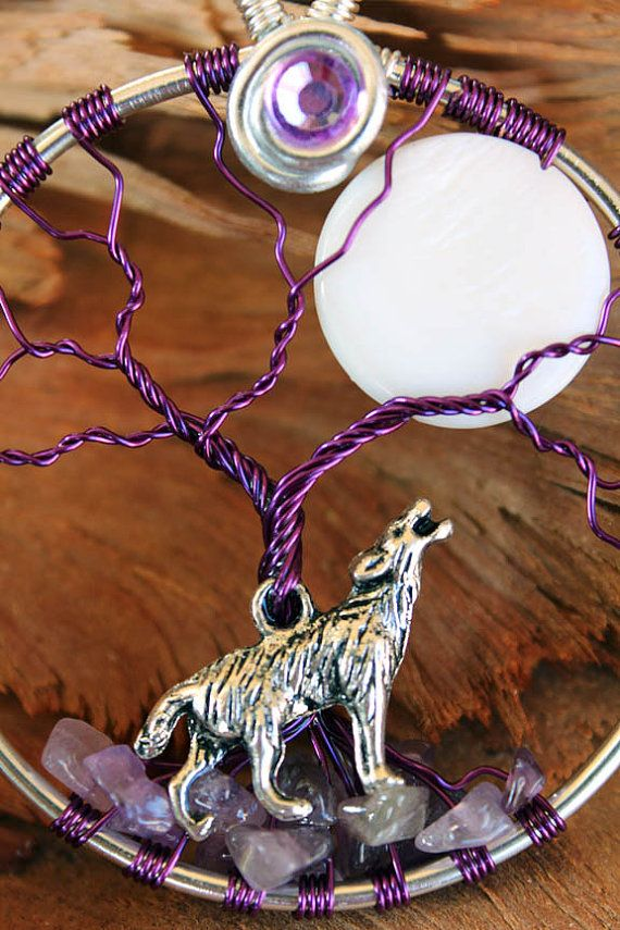 Tree of Life Amethyst Wolf with Moon by GelArt on Etsy
