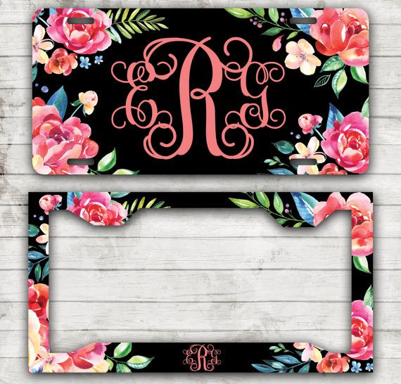 Classy Floral Front License Plate Personalized Monogrammed