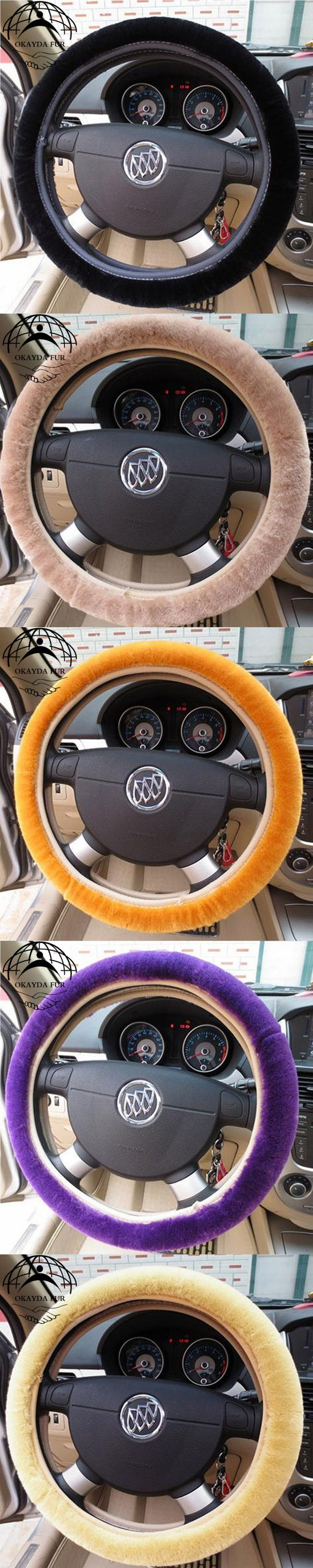 OKAYDA faux fur car steering wheel cover warm and anti-slip car steering wheel cover Fit Most Car Styling shipping free