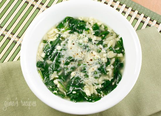 Spinach Stracciatella Soup with Orzo - This is perfect served with a good crusty bread or garlic bread.