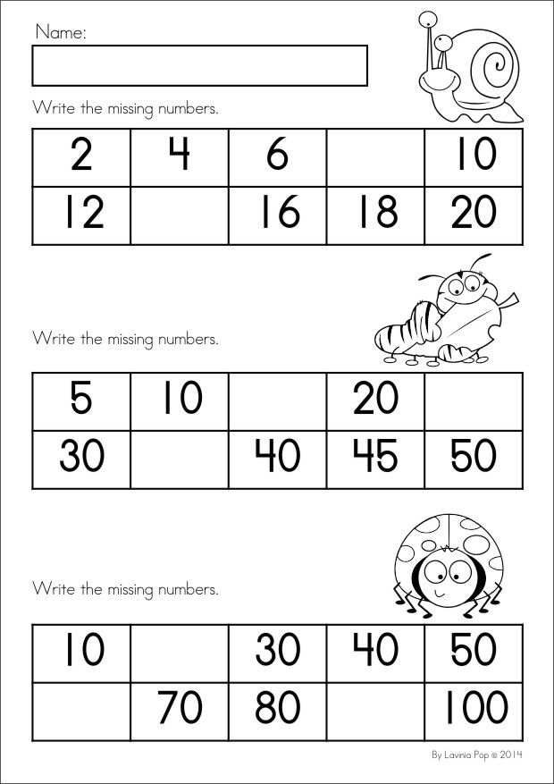 Kindergarten SPRING Math & Literacy unit. 93 pages in total. A page from the unit: Write the missing numbers (skip counting)