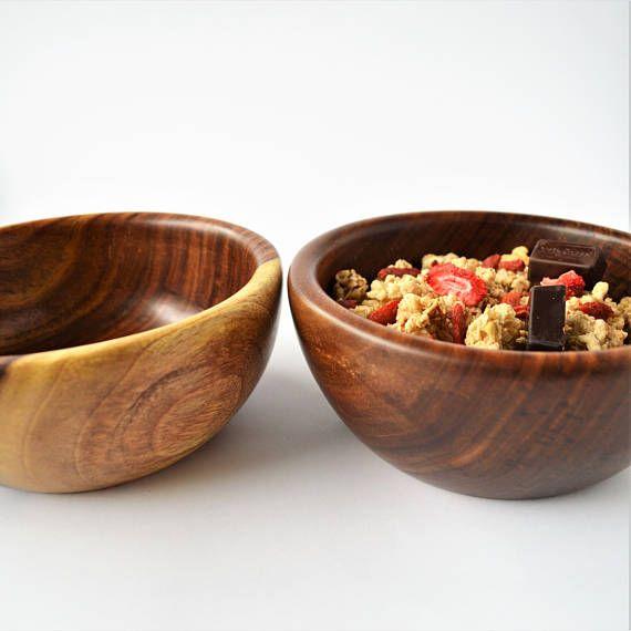 2 Salad bowls Wooden bowl Fruit bowl Cereal bowl Hand