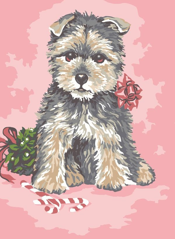 Collection d'Art:6.277 Christmas Pup - CANVAS ONLY - Penelope White Canvas, colour printed design. Canvas size 30cm X 40cm with DMC thread recommendations.