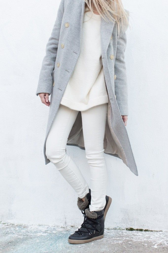 White top and bottom + grey coat + Isabel Marant Nowles winter boots. Ready for snow! #minimal #outfit #streetstyle Photo: figtny.com