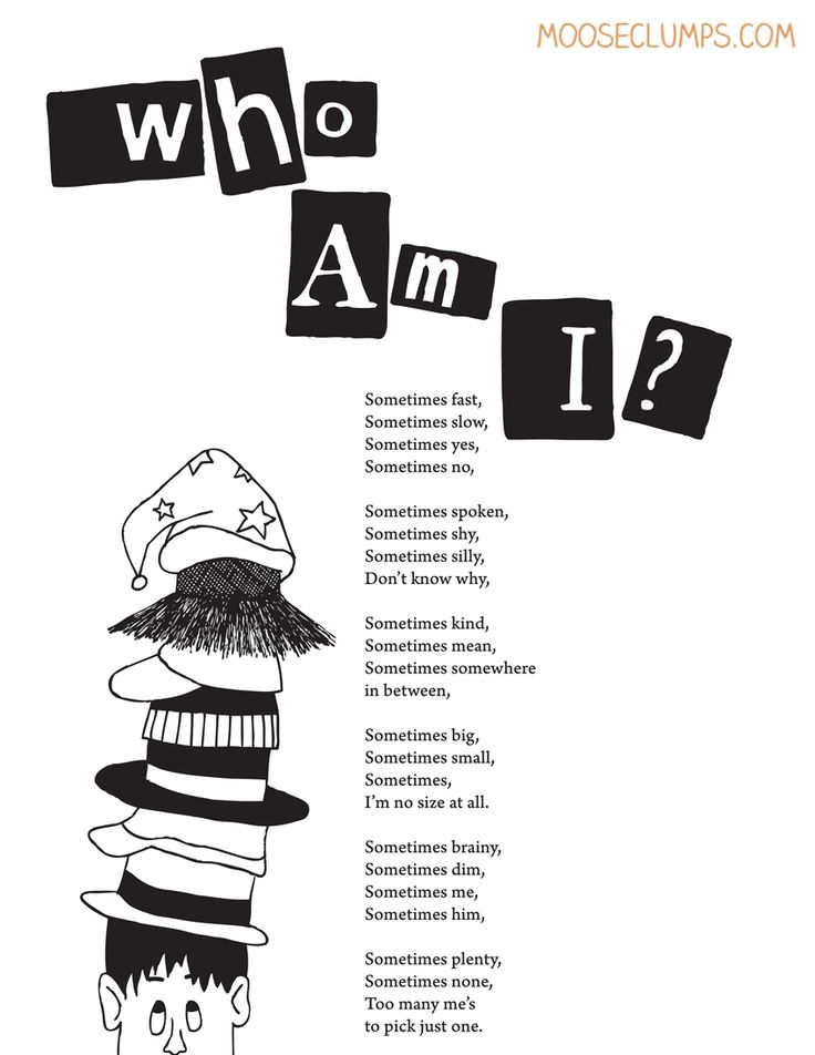 Who Am I? (poem from Mooseclumps, a book/blog of poetry for kids!)
