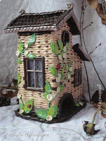 Поделка изделие Плетение Домик для чая и Крошка - енот Бумага газетная Трубочки бумажные фото 4