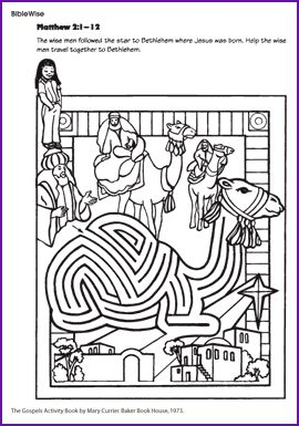 Wise Men Maze Help the wise men through the camel maze to find Jesus.